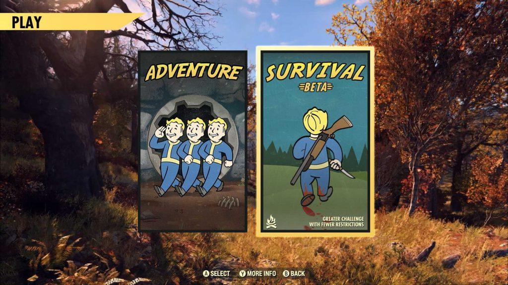 Fallout 76 Überlebensmodus Spiel Screen