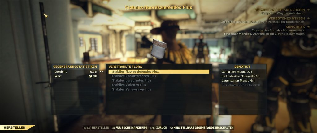 Fallout 76 Flux herstellen