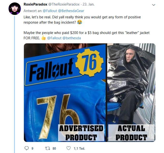 Fallout 76 Lederjacke Müllsack Tweet