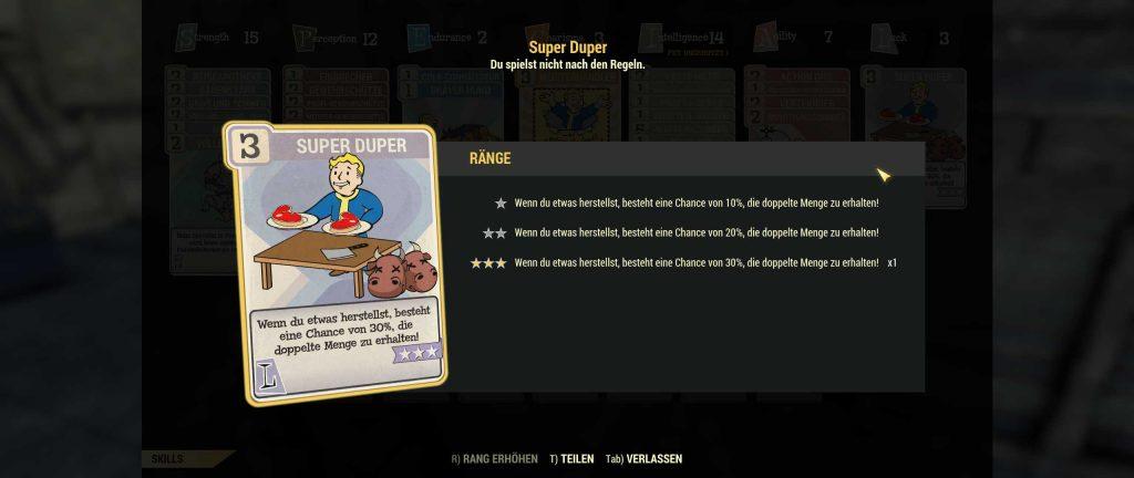 Fallout 76 Super Duper Perk