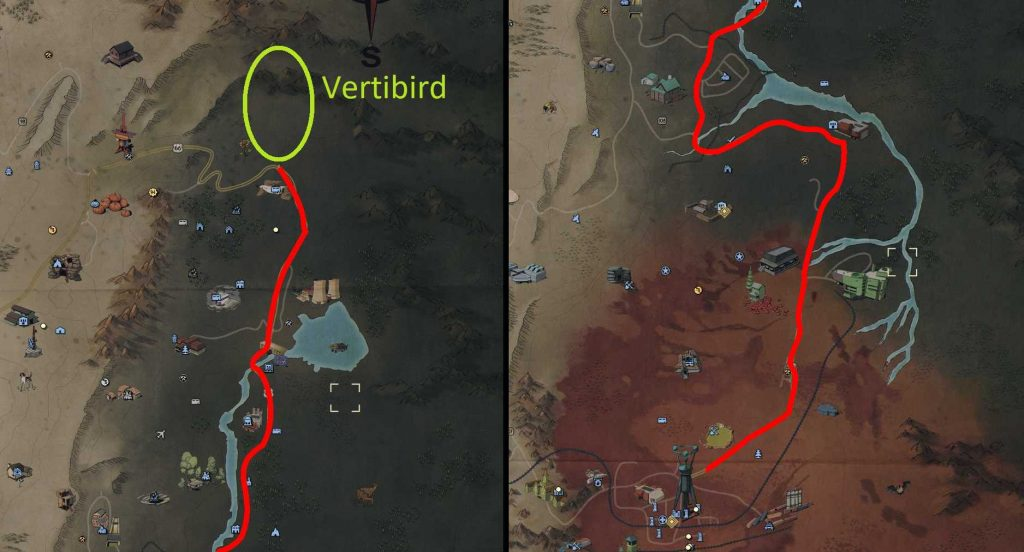 Fallout 76 Tiere zähmen route mit vertibird