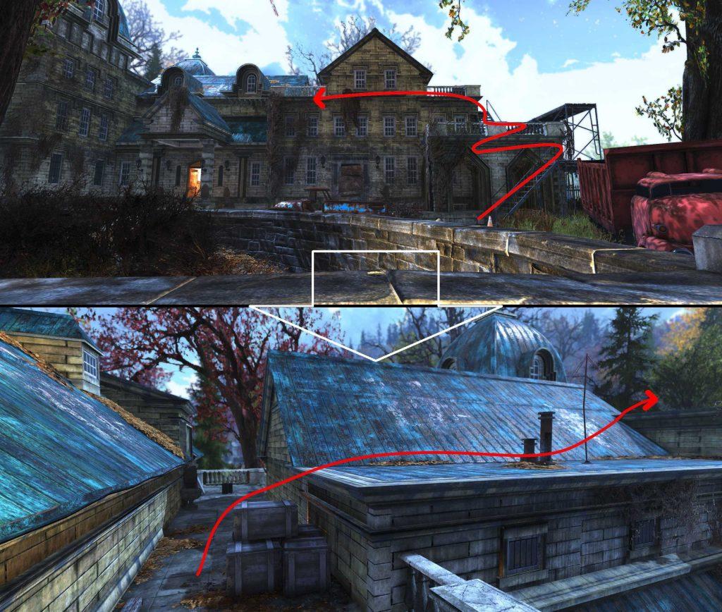 Fallout 76 Torrance Haus Pfad zum Dach beide
