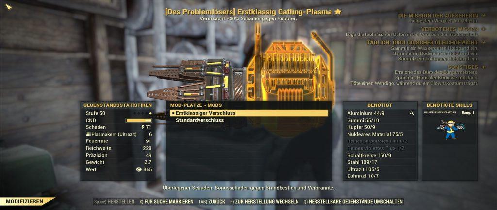 Fallout 76 erstklassiger Verschluss