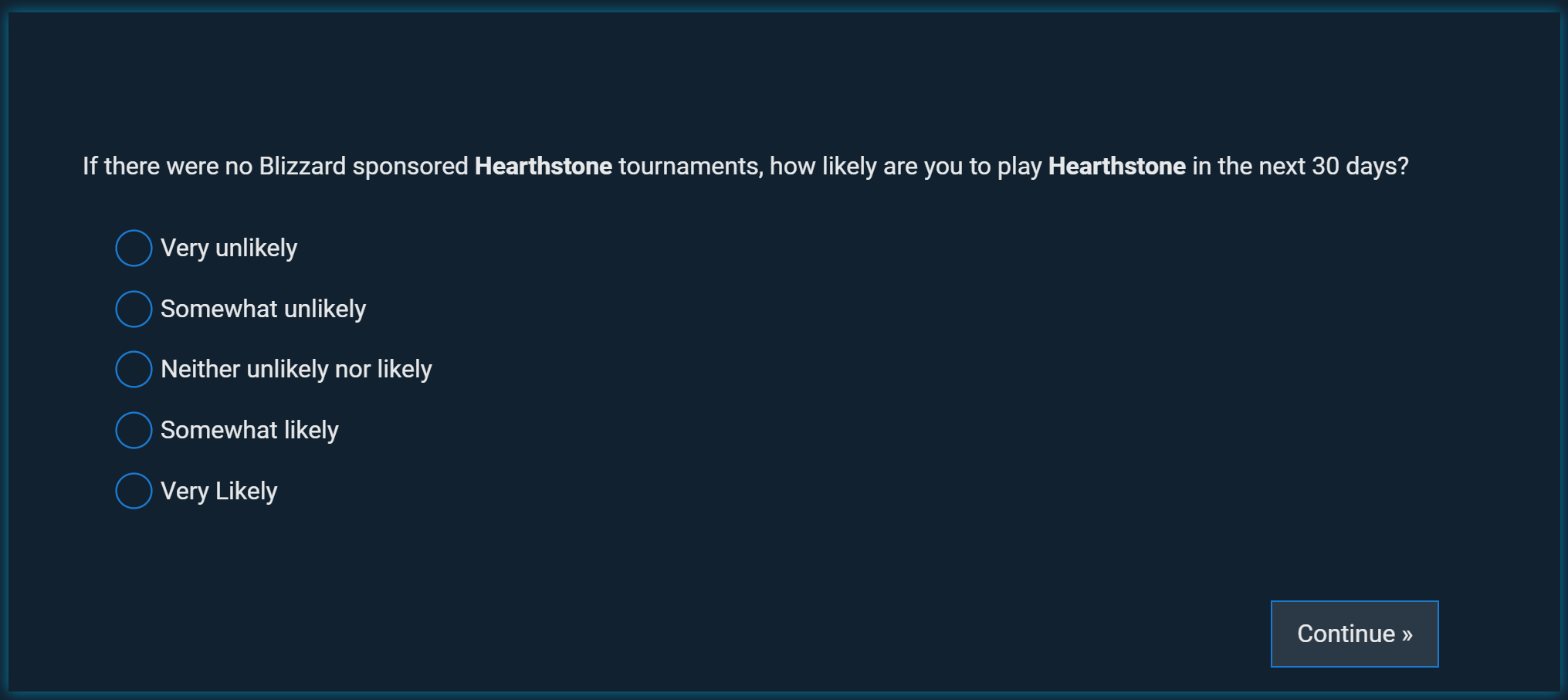 Hearthstone no torunament survey