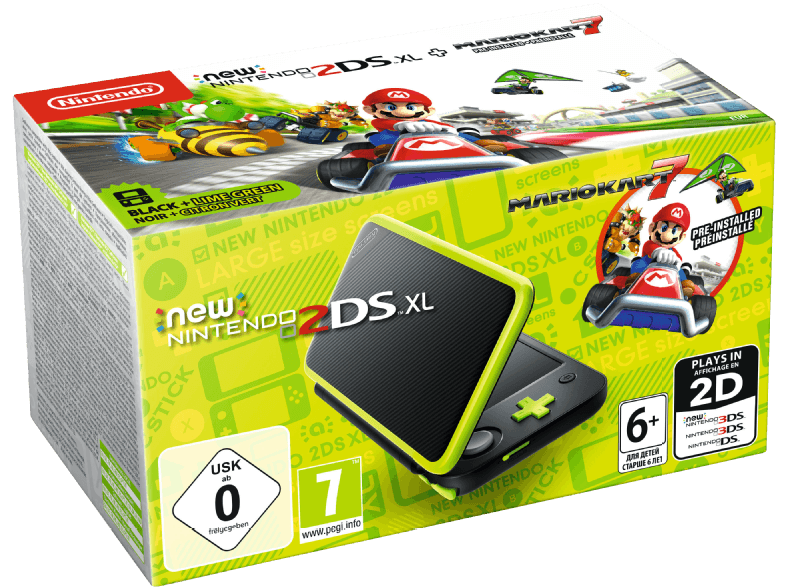 NINTENDO-New-Nintendo-2DS-XL-Schwarz-Apfelgrün-inkl.-Mario-Kart-7-Tragbare-Konsole–Schwarz-Apfelgrün