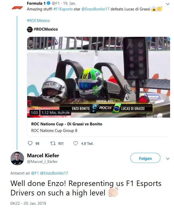 Sim Racing eSports Marcel Kiefer twittert über di grassi und bonito