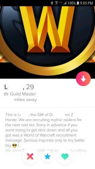 WoW Tinder Profil Gildensuche