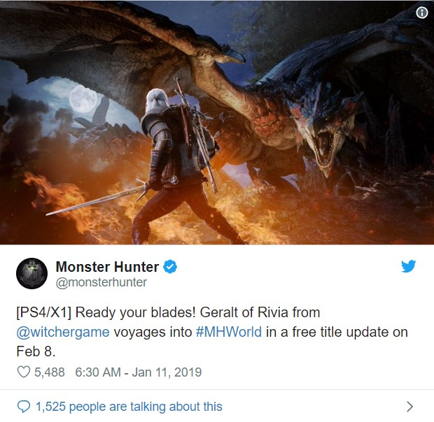 monster hunter world geralt twitter