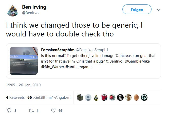 Anthem Tweet Inscriptions Javelin