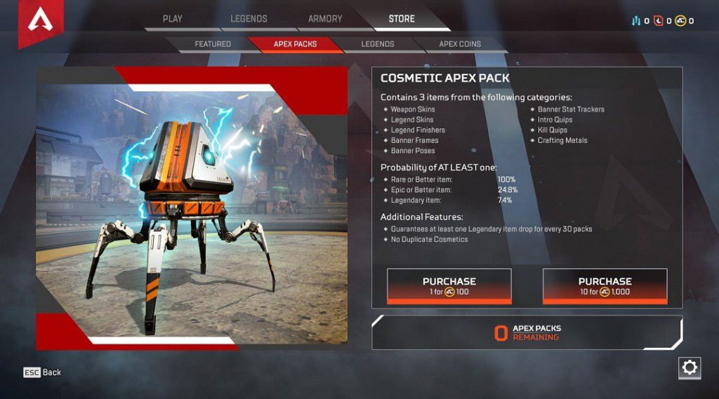 Apex Legends Loot Box im Shop