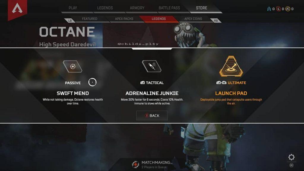 Apex Legends Octane Leak Fähigkeiten
