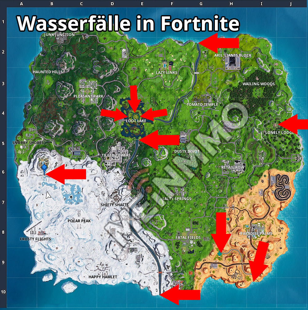 Alle Wasserfälle in Fortnite Fundorte Map Karte