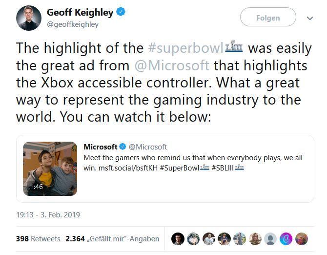 Geoff Knightley xbox adaptive controller tweet