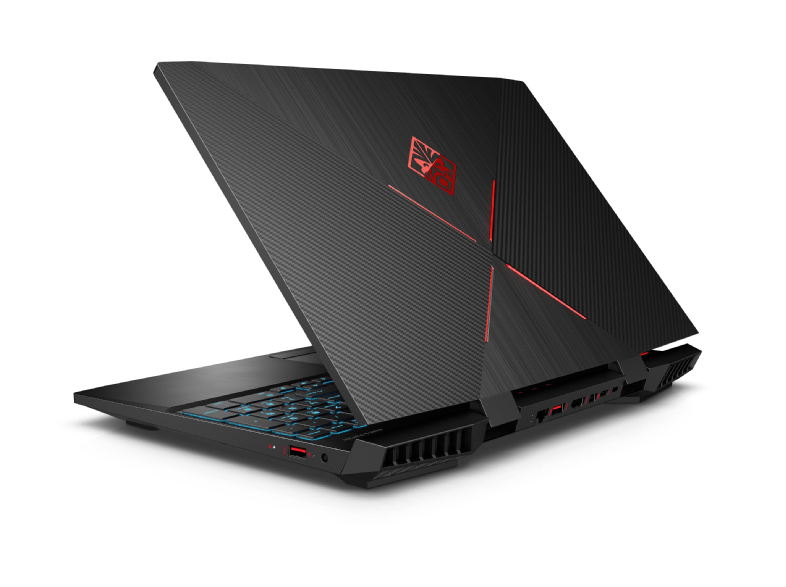 HP Omen 15-DC1306NG Gaming-Notebook mit GeForce RTX 2060 und Intel Core i5-8300H (Rückseite)