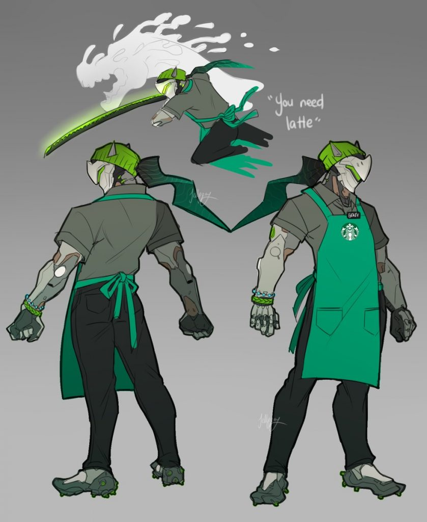 Overwatch Starbucks Genji by jelly