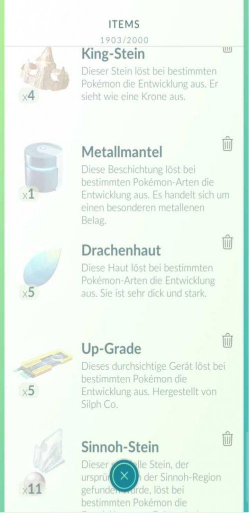 Screenshot Entwicklungsitems