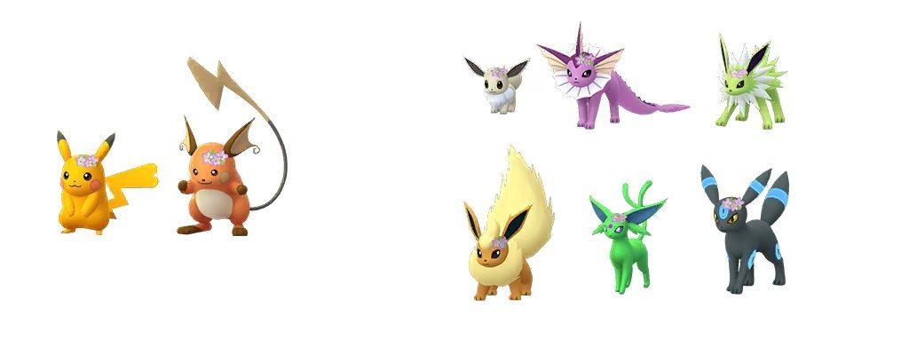 Evoli Pikachu Familie Blumenkranz