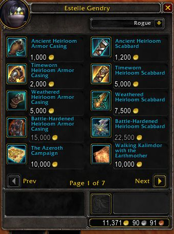 WoW Heirlooms Patch 815 Costs