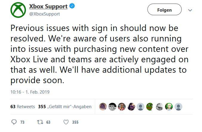 Xbox One Twitter problem Fehler Update