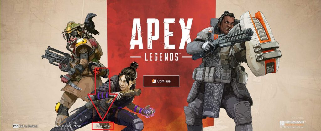 Apex Legends Data Center im Start-Screen PC