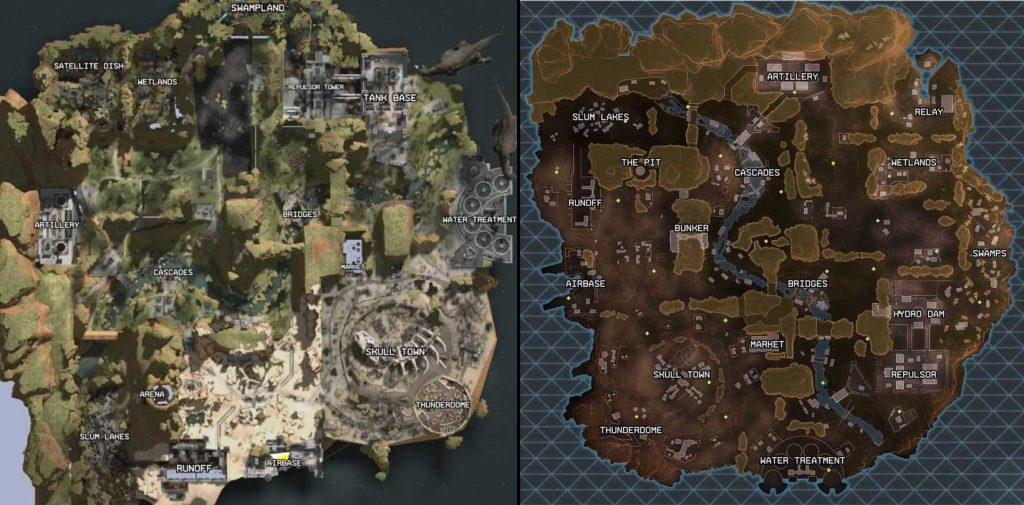 Apex Legends die Karten aus dem leak und die echte Karte im Vergleich