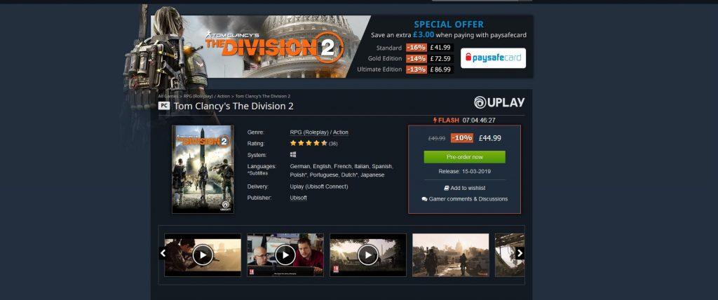 Division 2 Kauf bei Gamesplanet
