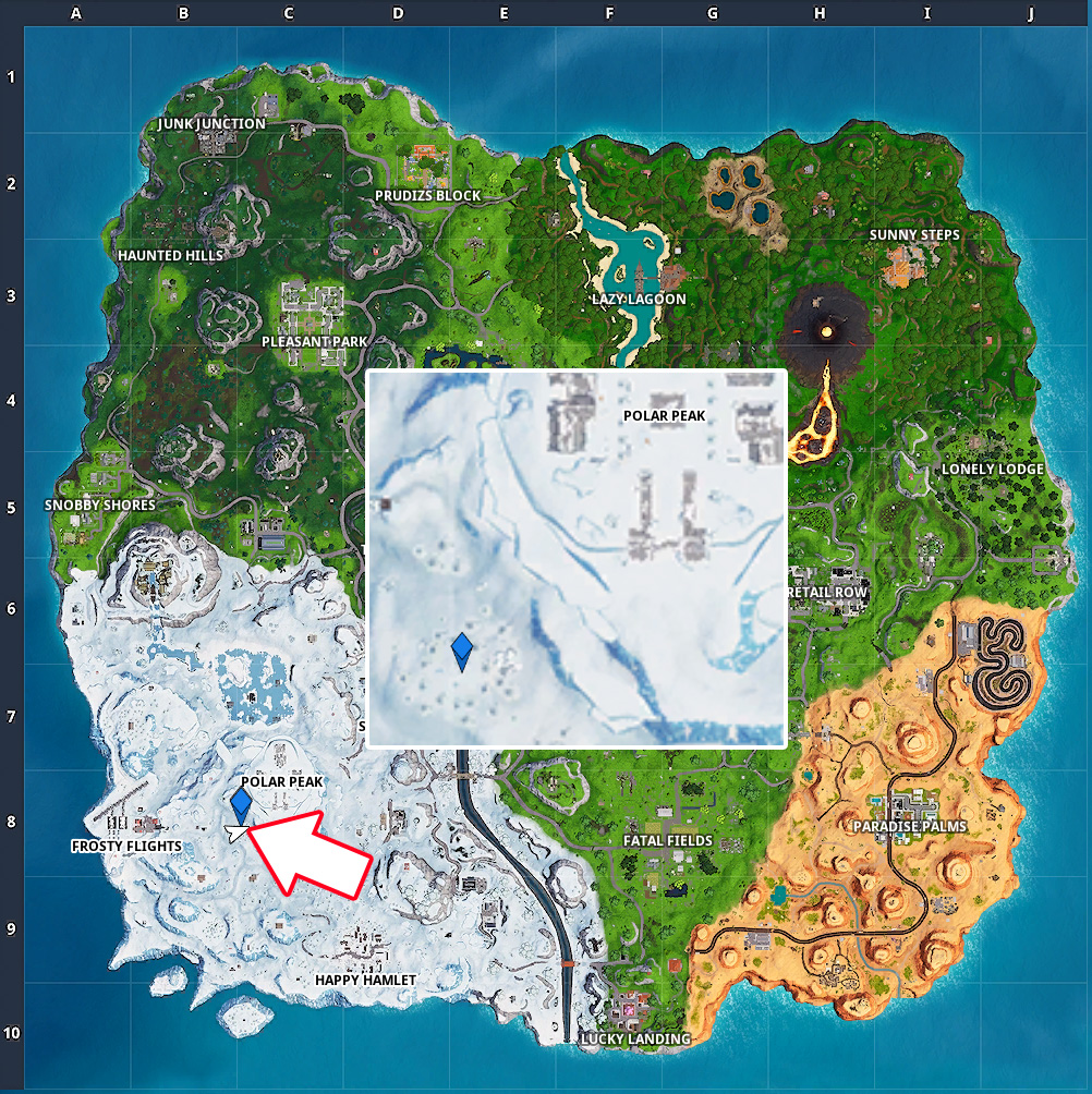 Fortnite Lupe Fundort Polar Peak Karte Map
