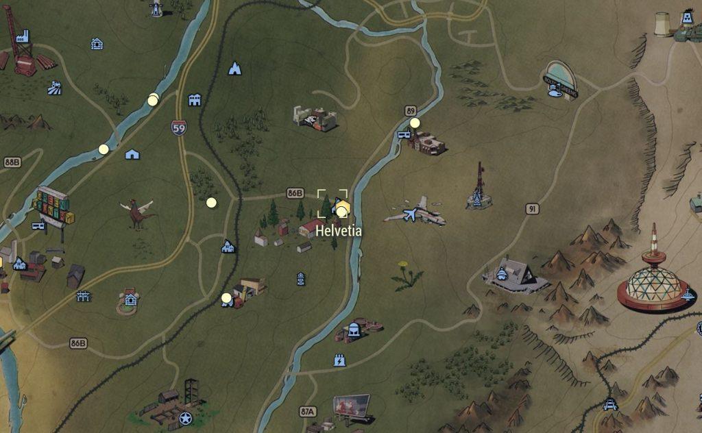 Fallout 76 Helvetia auf der Karte