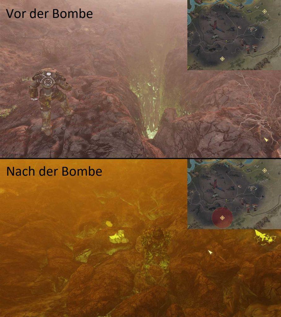 Fallout 76 Riss vor und nach einer Atombombe