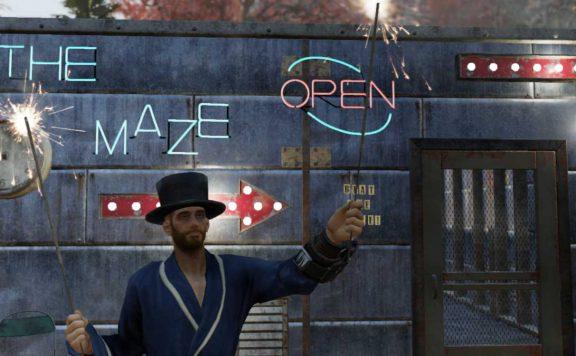 Fallout 76 Typ im bademantel und Zylinder bewirbt ein Labyrinth Titel