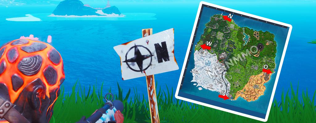 Fortnite: Der nördlichste, südlichste, östlichste, westlichste Punkt der Map