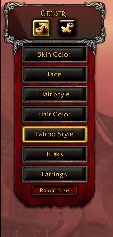 WoW Anpassungs Optionen bei Charaktererstellung