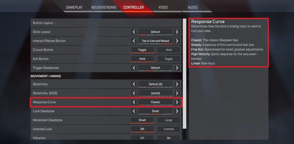 Apex Legends Controller Eim Eisntellungen