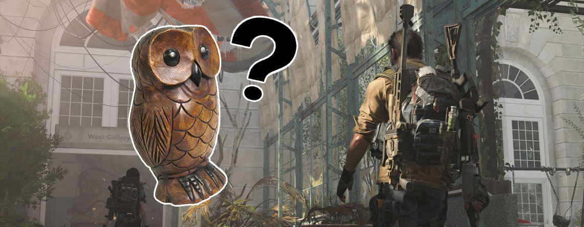 Agenten entdecken verstecktes Rätsel in The Division 2, salutieren vor Riesen-Eule