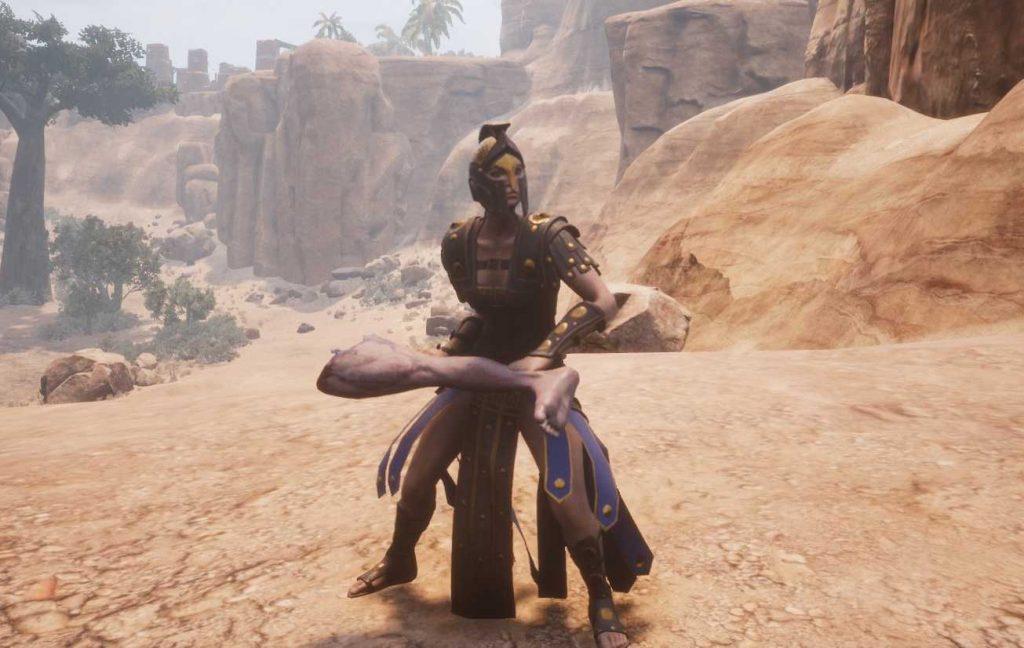 Conan Exiles Pferdekuss bei aquilonischer Kämpferin