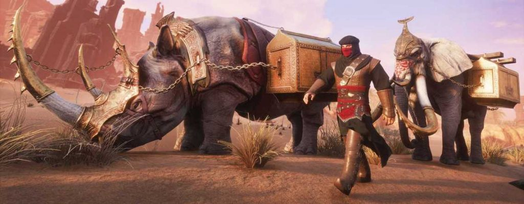 Conan Exiles Turan DLC Elefanten und Nashorn Karawane Titel
