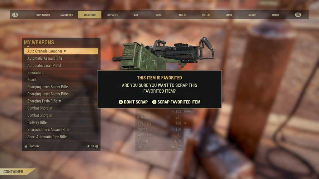 Fallout 76 Abfrage für favorisierte Waffen