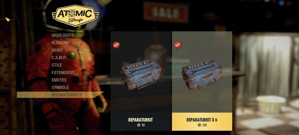 Fallout 76 Reparaturkits im Shop