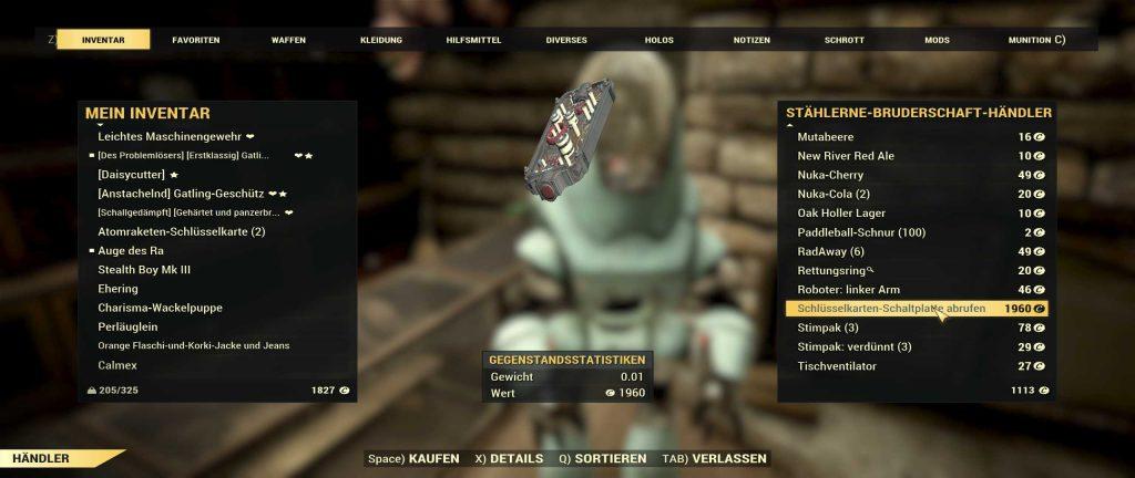 Fallout 76 Sheepsquatch Schlüsselkarten Schaltplatte beim Händler