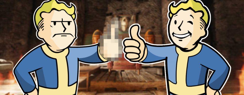 Fallout 76 Thronsaal in den Höhlen Vault Boys finden es gut und schlecht