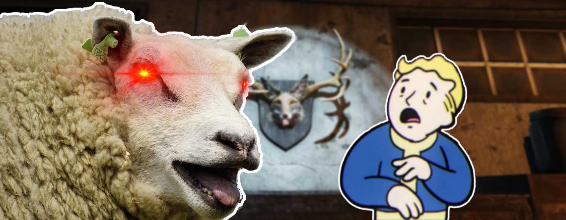 Fallout 76 böses Schaf Sheepsquatch erschreckt vault Boy