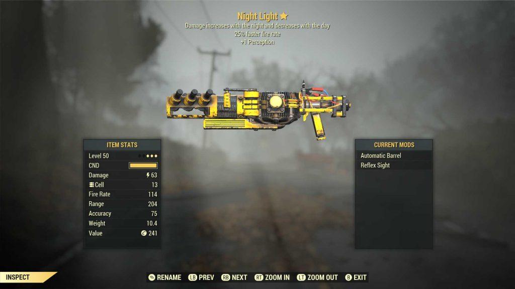 Fallout 76 legendäre Waffe Nachtlicht