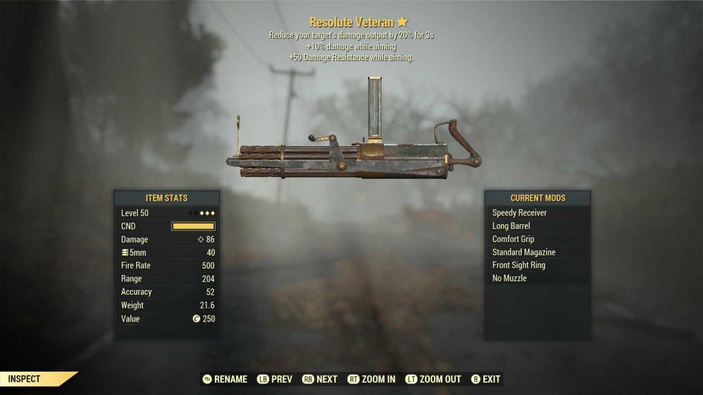 Fallout 76 legendäre Waffe resoluter Veteran