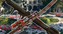 Fallout 76 legendäre Waffen vor einem Garten titel