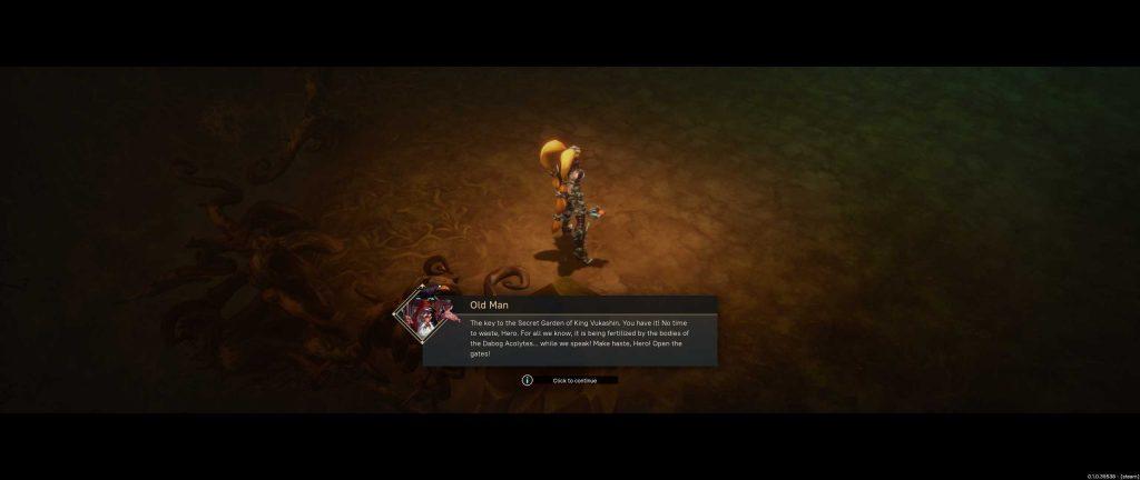 Pagan Online Screenshot alter Mann erzählt