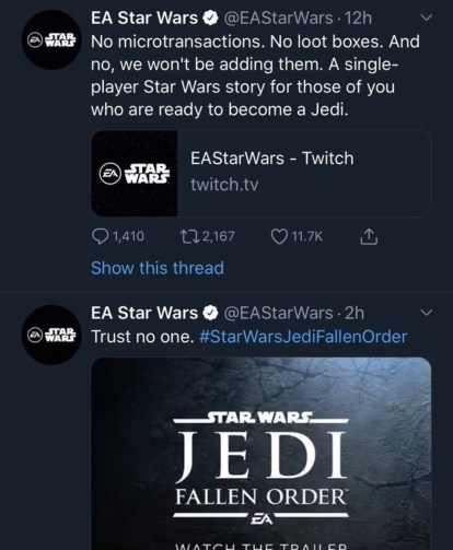 Star Wars Jedi FAllen Order Trust No one.