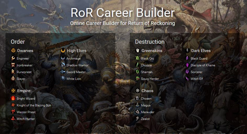Warhammer Online Return of Reckoning Career Builder