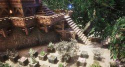 Conan Exiles Bauideen Titel mit Pflanzen auf Bäumen