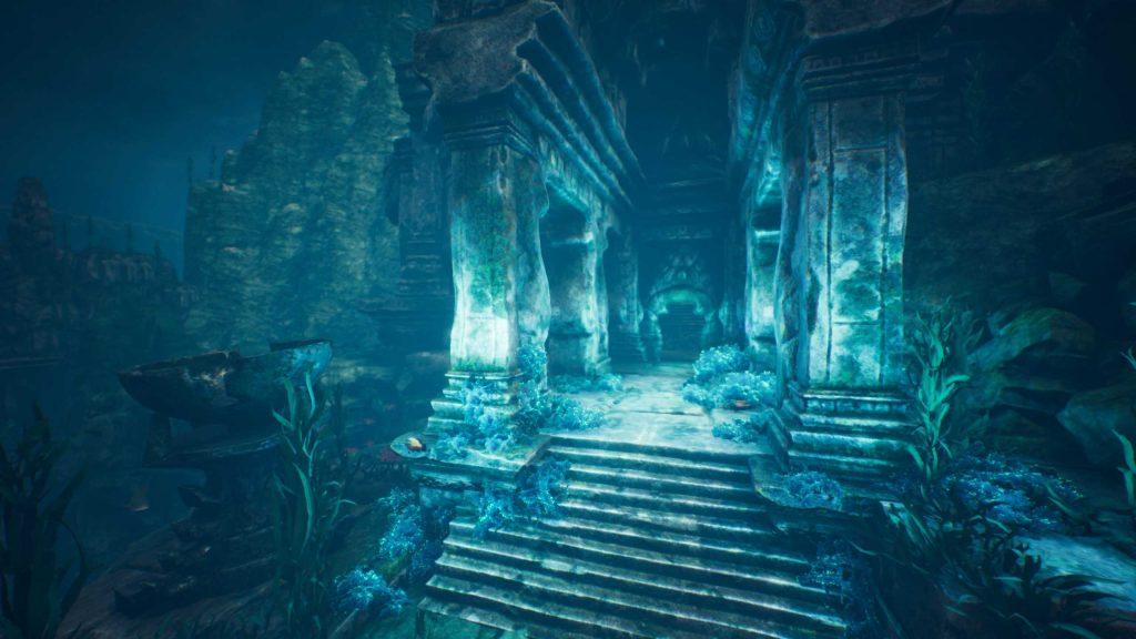 Conan Exiles versunkene Stadt Umgebung Tempeleingang