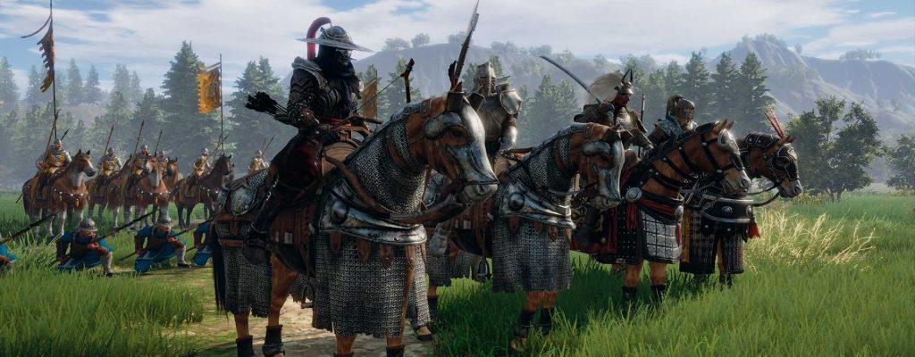 Conqueror's Blade Beta kommt Reiter auf Pferden in Rüstung Titel
